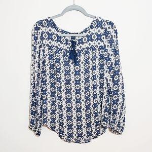 Lucky Brand Blue Boho Chic Tasseled Peasant Blouse